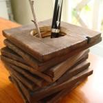 焼き杉のペン立て